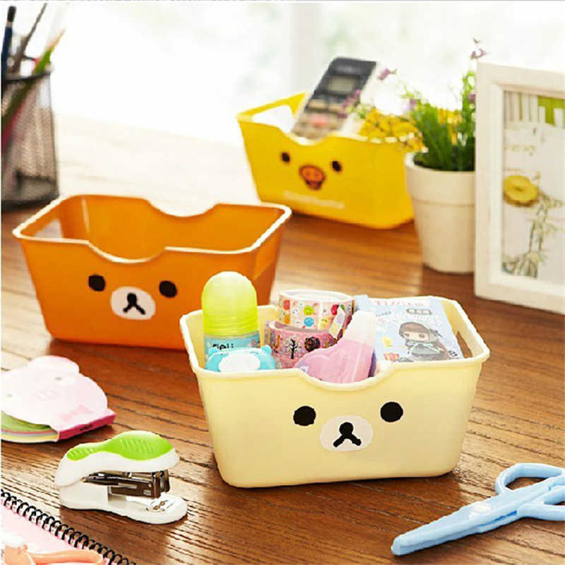 Rectangular Office Organizer Desktop Storage Box Cute Cartoon Plastic Storage Box Sundries Organized Storage Box