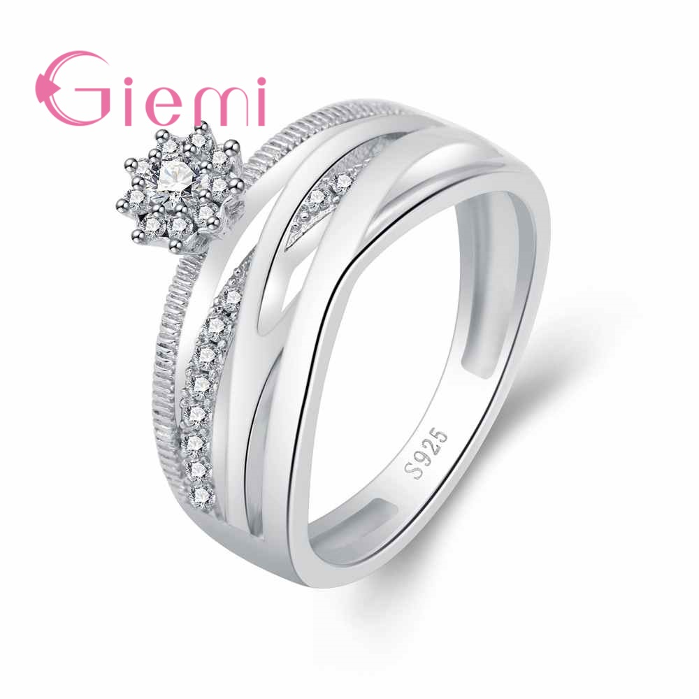 GIEMI 3 Row Fashion Cross Hollow Band Big Wide Finger Rings for Women Shiny Clear AAA+ Zircon Crystal Jewelry 925 Silver Bauge