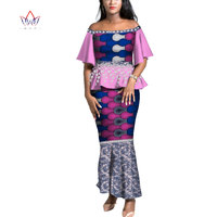 New Style 2019 African Skirt Set For Women Dashiki Off Shoulder Sleeve African Clothes Bazin Plus Size Dress For Wedding AT2701
