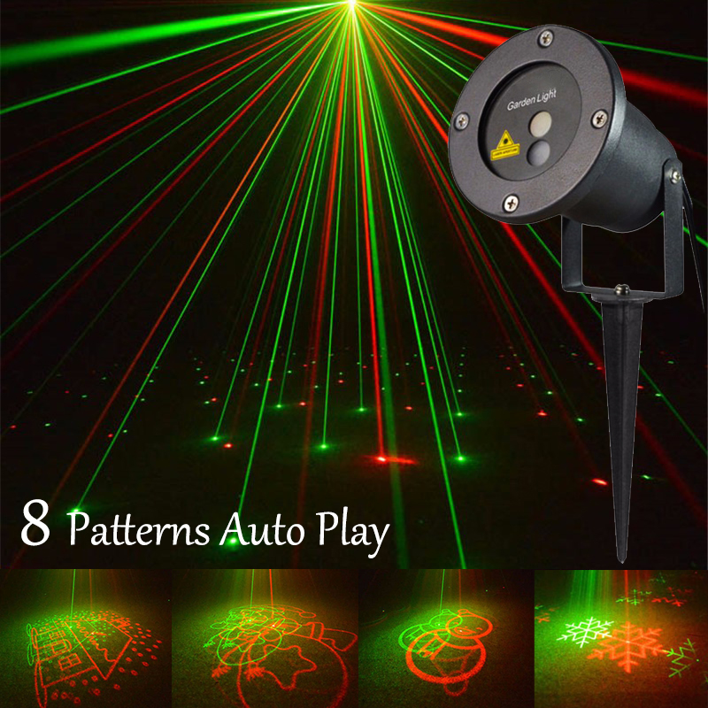 outdoor waterproof laser projector 8 xmas patterns auto flash for garden party christmas landscape decoration stage light - Laser Projector Christmas Lights