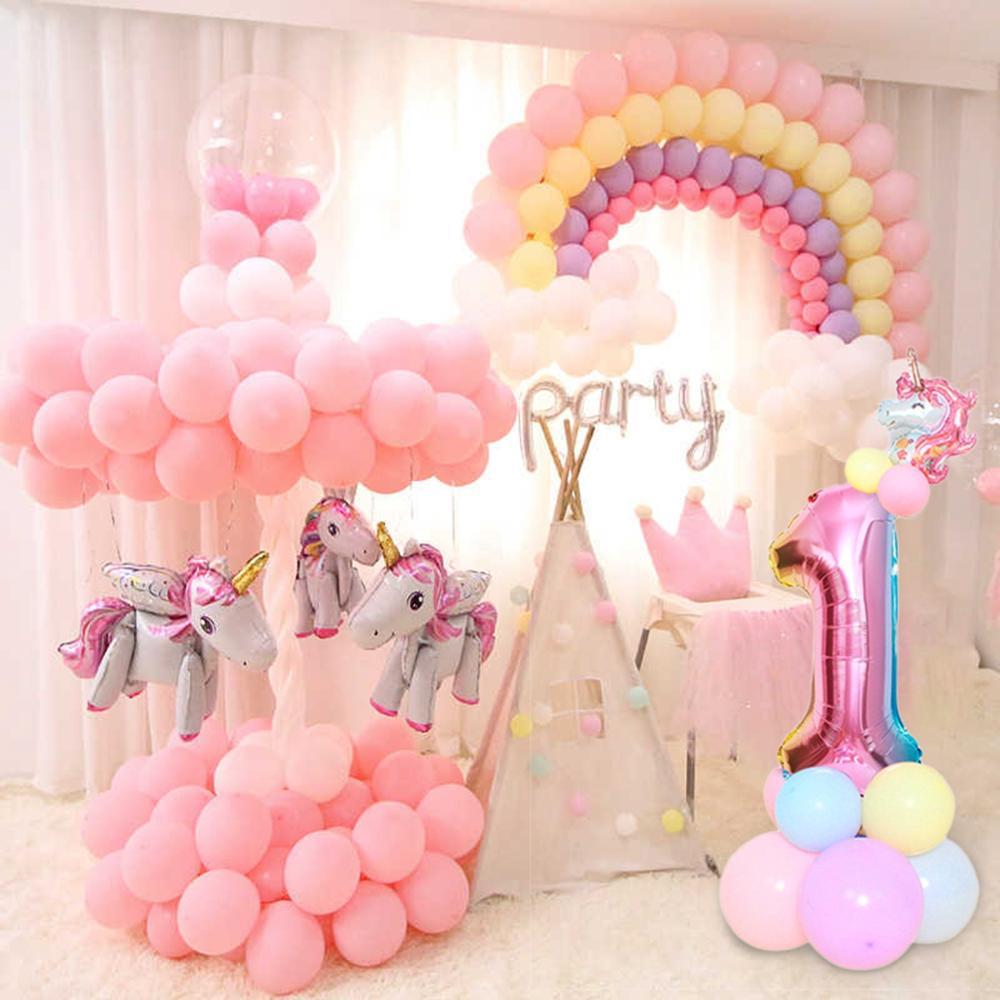 Globos De Papel De Aluminio Grande Unicornio Rosa Arco Iris Niños Cumpleaños Fiesta Decoración Globos