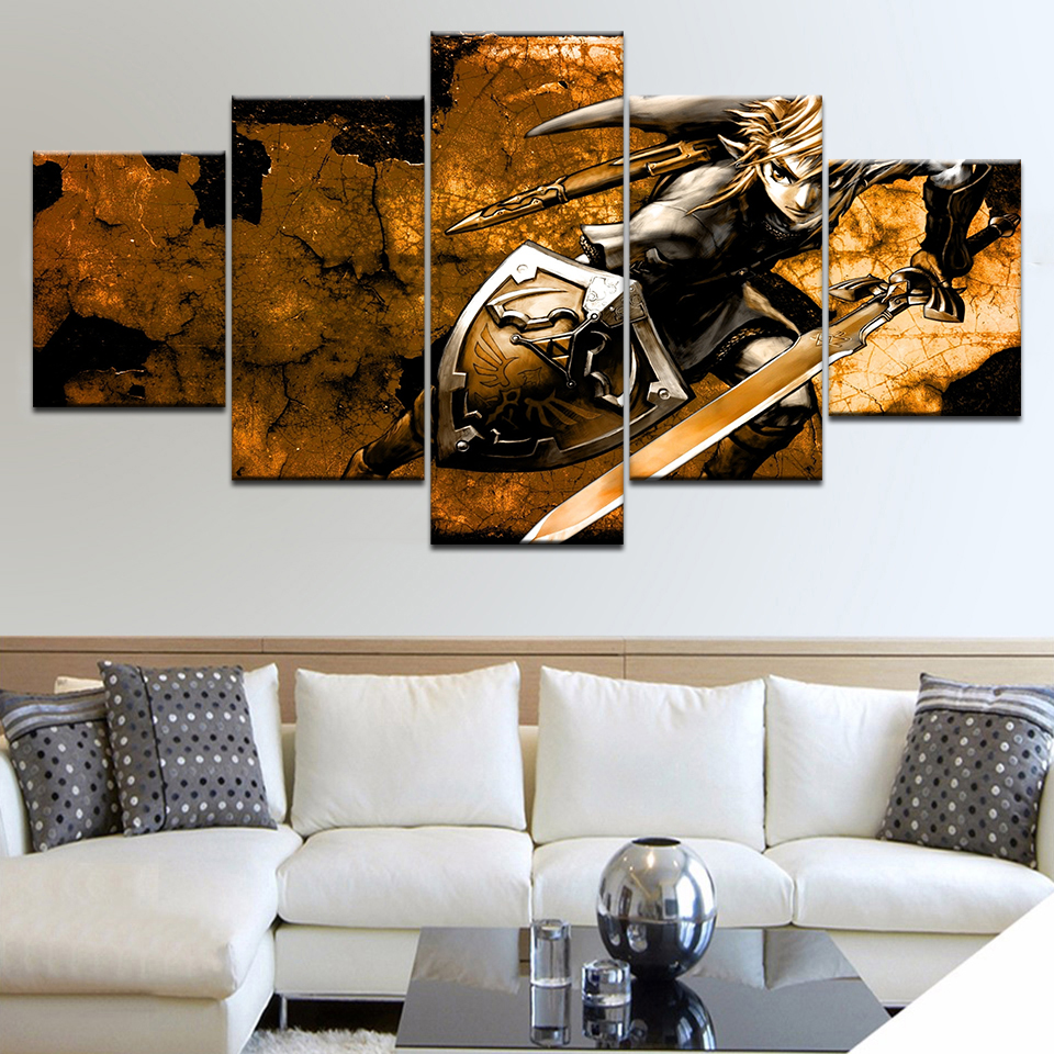 Canvas Painting Wall Pictures 5 Panel Game Wall Art Legend Of Zelda Poster For Living Room Home Decor Modular Pictures Frames in Painting Calligraphy from Home Garden