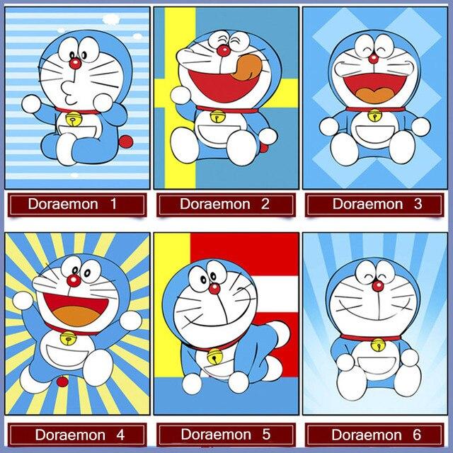 Diy Doraemon Kartun Penuh Bor Bulat Diamond Lukisan Bordir Cross