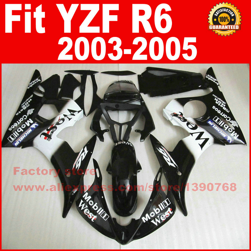 7 gifts hot motorcycle fairings set for 2003 2004 2005 YAMAHA R6 black west YZF R6 03 04 05 fairing kits body repair parts 7 gifts motorcycle abs fairings kits for 2003 2004 2005 yamaha yzfr6 blue black yzf r6 03 04 05 fairing kit body repair parts