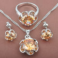 Simple Design Brown Cubic Zircon Women's Silver Jewelry Sets Necklace Pendant Earrings Rings Free Shipping TS059