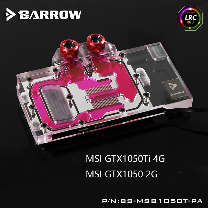 Barrow BS-MSB1050T-PA LRC RGB v1/v2 Full Cover Graphics Card Water Cooling Block for MSI GTX1050Ti/1050 цена 2017