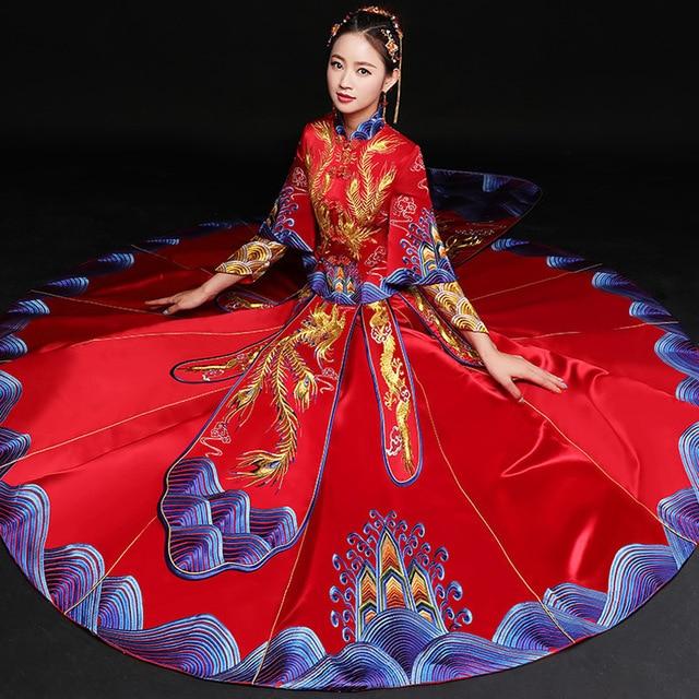 Bride Wedding Cheongsam Red 2018 New Traditional Chinese Wedding ...