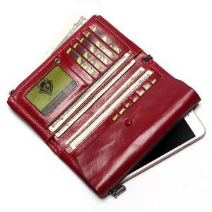 Image 4 - Bolso de teléfono para mujer, Cartera de cuero genuino con cera de aceite suave, bolso de mano largo de diseñador para hombre, billetera de marca de lujo, monedero con cremallera