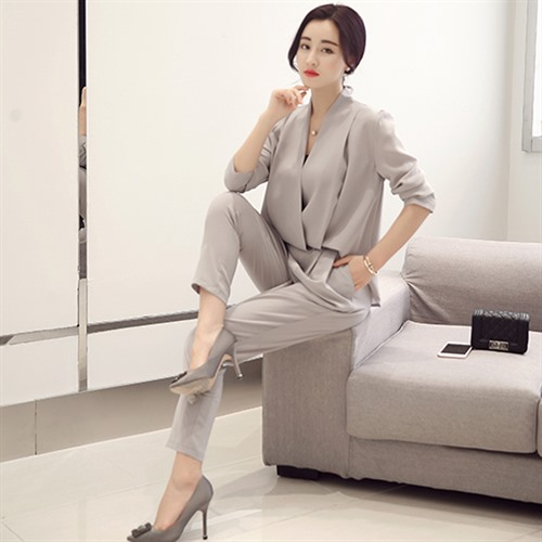 Set Ankle Two Spring 2017 black Long Sleeve Blouse Piece Color Women Pants Suit Tops And length Solid Autumn Fashion Red gray blue 5CwCAq