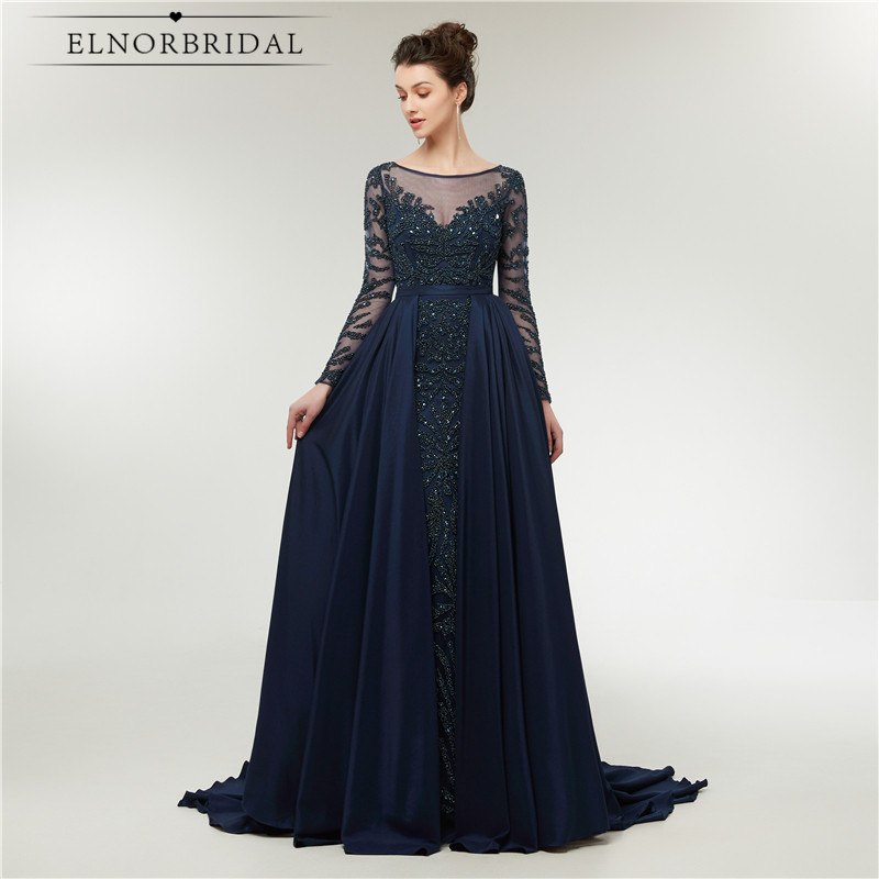Vintage Navy Long Sleeves   Evening     Dresses   2018 Detachable Skirt Formal Women Occasion   Dress   Sheer Illusion Robe De Mariee