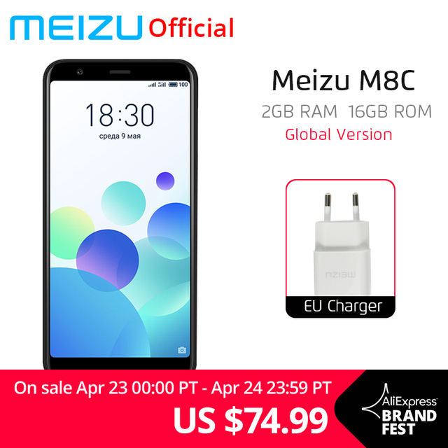 "Global Version Meizu M8C 2GB 16GB Mobile Phone Qualcomm 425 Quad Core 5.45"" 18:9 Full Screen 13.0MP Rear Camera 3070mAh"