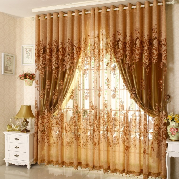 Ready Jacquard Print Peony Curtains With Beads Gold Voile