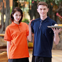 (5 get 10%off,10 get apron)Man/woman coffee shop restaurant hotel bakery short sleeve waiter T-shirt uniform work wear clothes