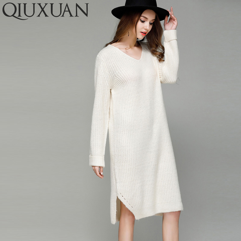 QIUXUAN Spring Autumn Women Long Sleeve Straight Dress V-Neck Open Knit Split Side Long Sweater Fashion Knit Jumper Midi Dress