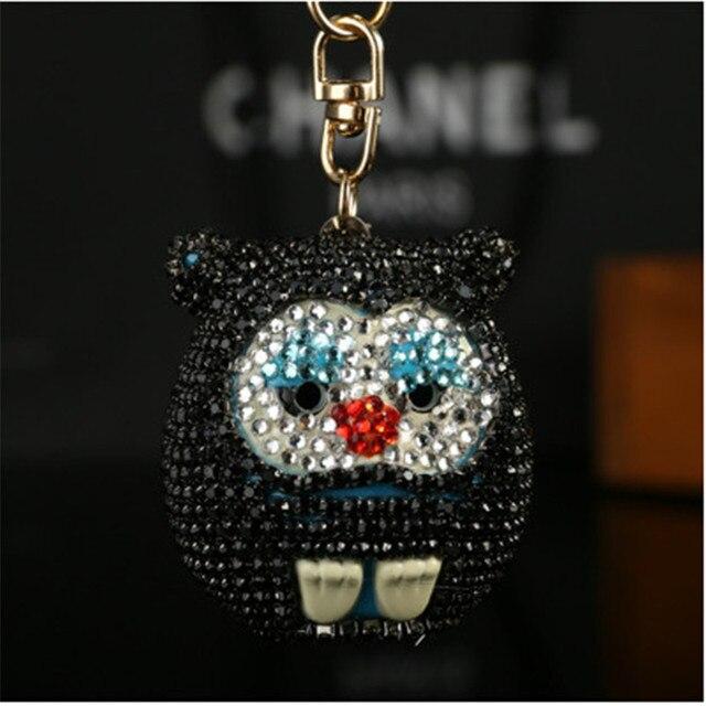 New bonito cristal Monchichi couro carro chaveiro chave presente criativo anel mulheres bolsa charme chaveiro bag pingente porte clef