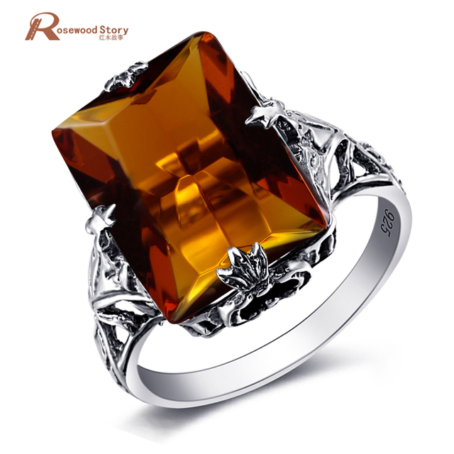 Fashion Sterling Silver 925 Bridal Wedding Rings Square Brown Stone Amber Women Band Finger