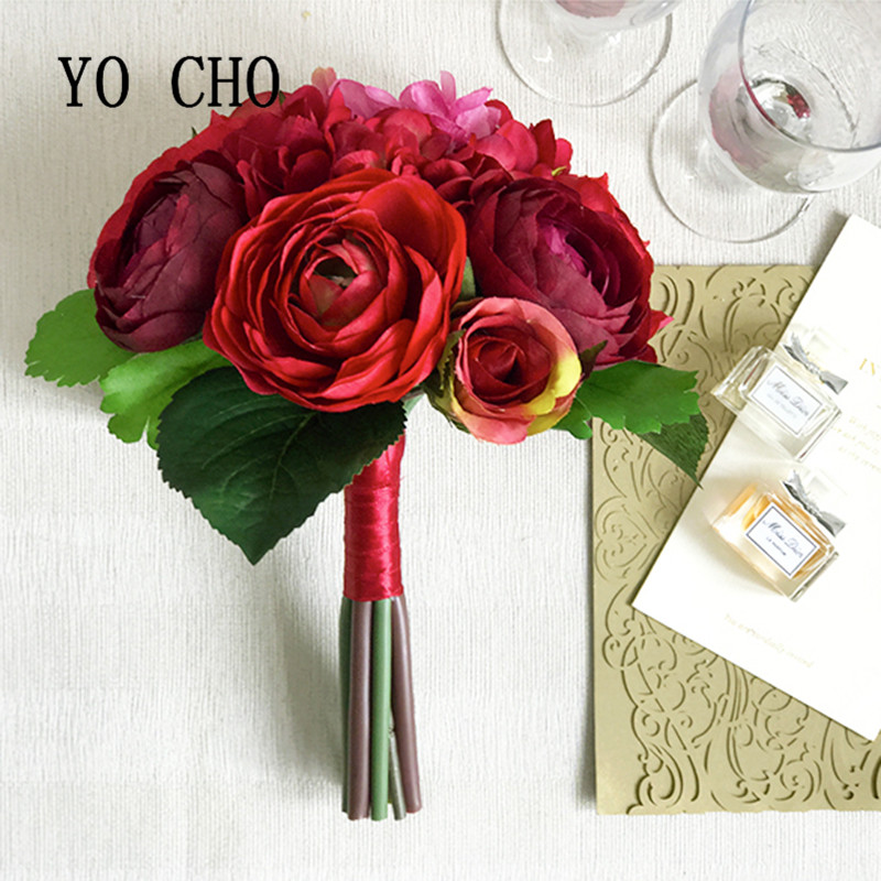 YO CHO Berries Peony Party Bridesmaid Bouquet Ribbon Rose Greenery Royal Blue Vintage Red Leaves Wedding Flowers Bride Bouquet