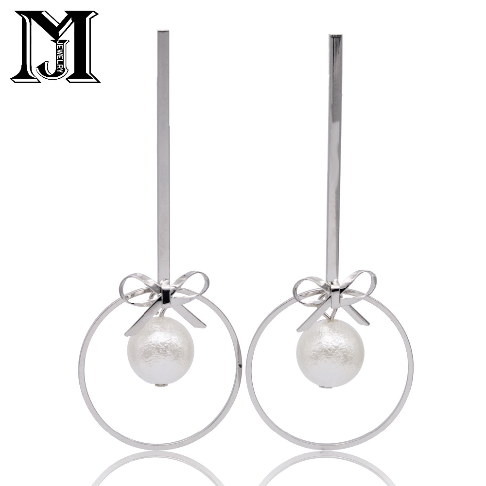 JiaMu Fashion Popular stud long Sea shell Pearl 925 sliver needle bow tassel earring for honourable women party wedding jewelery