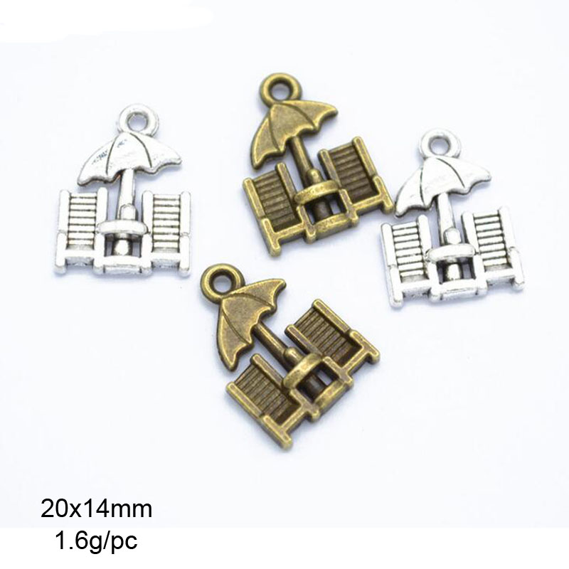 Painstaking 35pcs 14x20mm Antique Silver/antique Bronze Beach Chair Umbrella Charms Diy Jewelry Making Jewelry Sets & More