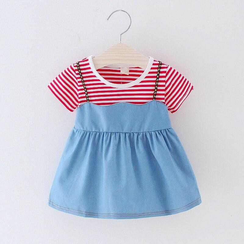 Новое повседневное летнее платье для маленьких девочек 0-24 месяцев, хлопковое платье в полоску с короткими рукавами для маленьких девочек, о...