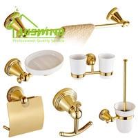 Роскошные золотые античная латунь аксессуары для ванной комнаты товары Товары для ванной вешалка для полотенец/мыльница/бумага держатель/