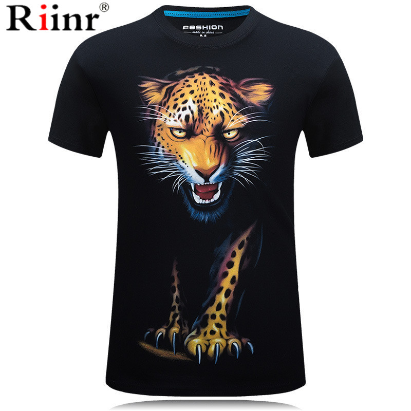 3D Printing Leopard T-shirts Man's T-shirt Short Sleeve Tees Fashion Woman Streetwear Mens Coats tshirts European Summer 2019