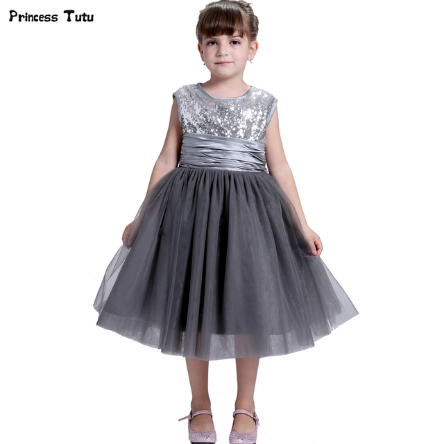 8055de10a01 Silver Sequins Girls Formal Dresses Gray Wedding Kids Flower Girl Dress  Princess Party Pageant Ball Gowns Tulle Dress Custom