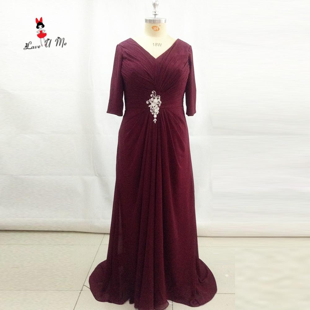 Bourgogne mère du marié robes 3/4 manches grande taille femmes soirée robe 2017 Vestido de Festa Longo mariage