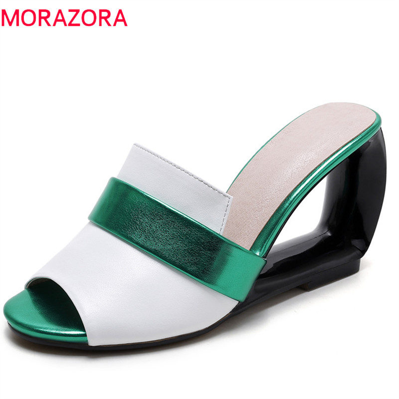 MORAZORA 2018 genuine leather summer shoes fashion mixed colors women sandals peep toe party shoes wedges high heels shoes woman enmayer fashion summer shoes woman high heels wedges sansals women hook