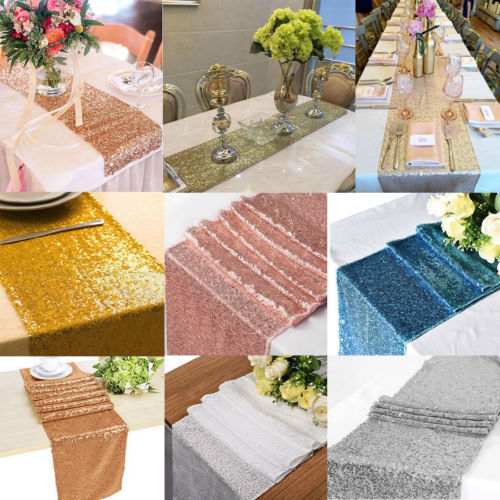 New Sequin Sparkly Satin Table Runner Solid Cloth Party Wedding Event Party Decor High Promotion Cool Rectangle Table Runner