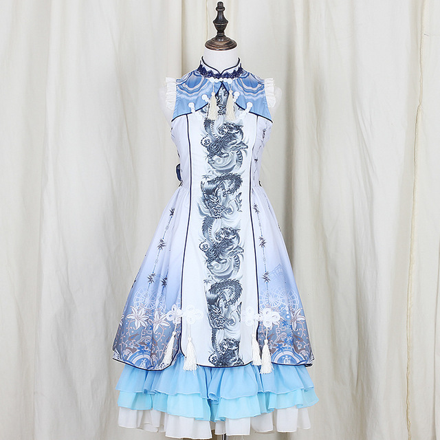 New Summer Retro Gothic Lolita Woman Dragon White Tiger Chinese Style Dresses Audrey Hepburn Palace Classical Embroidered Dress 1