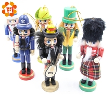 Christmas-Ornaments Dolls Nutcracker Drawing-Decoration Wood Creative Puppet 6PCS Soldiers-Band