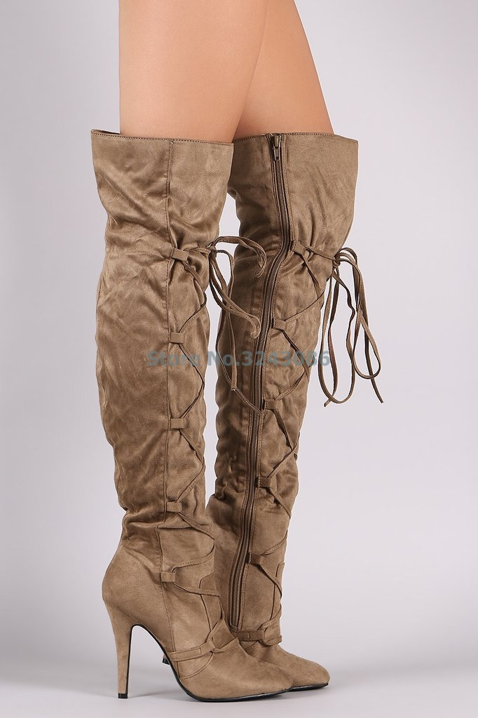Pointed Toe Thin High Heel Long Boots Black Darkgray Khaki Cross Strap Over The Knee Boots Sexy Lace Up Winter Women Boots