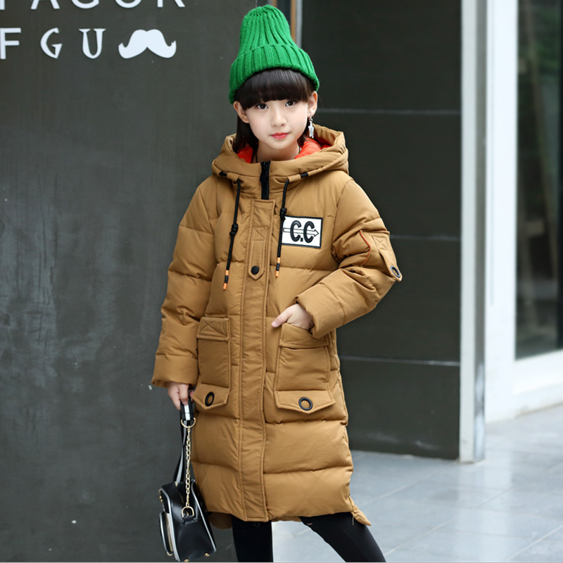 Winter Long Down Jacket For Girls Coat 2017 Fashion Hooded Big Pocket Medal Decoration Warm Topcoat 120-160 High Quality