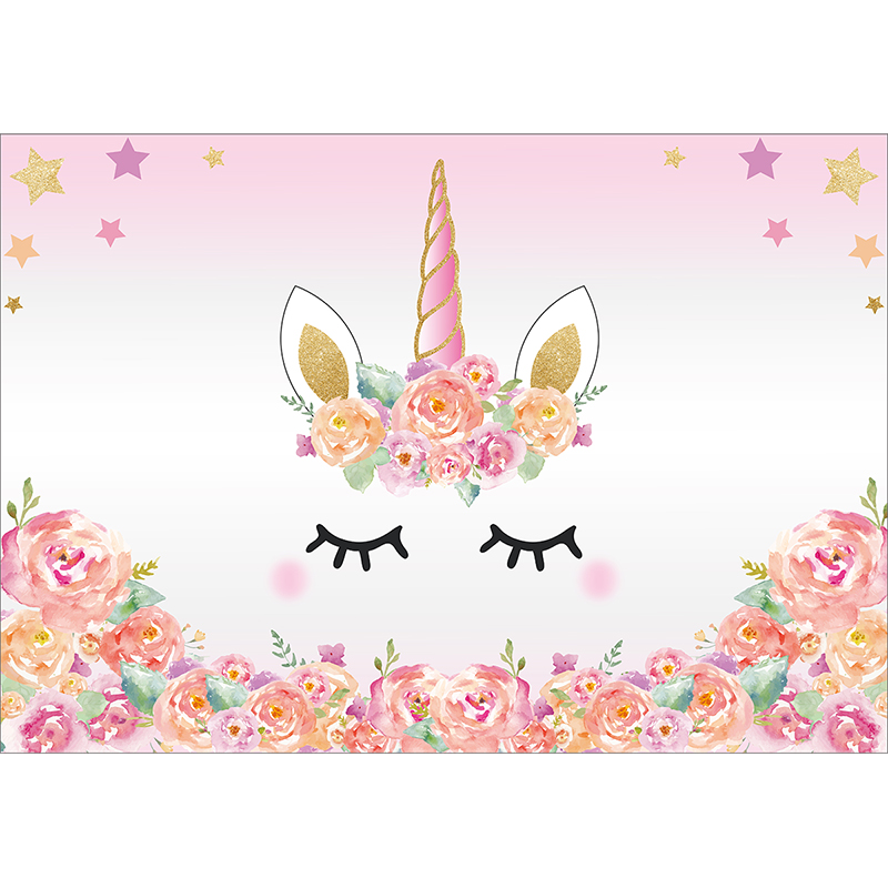 Allenjoy Pink Unicorn Photography Backdrop Birthday Flower