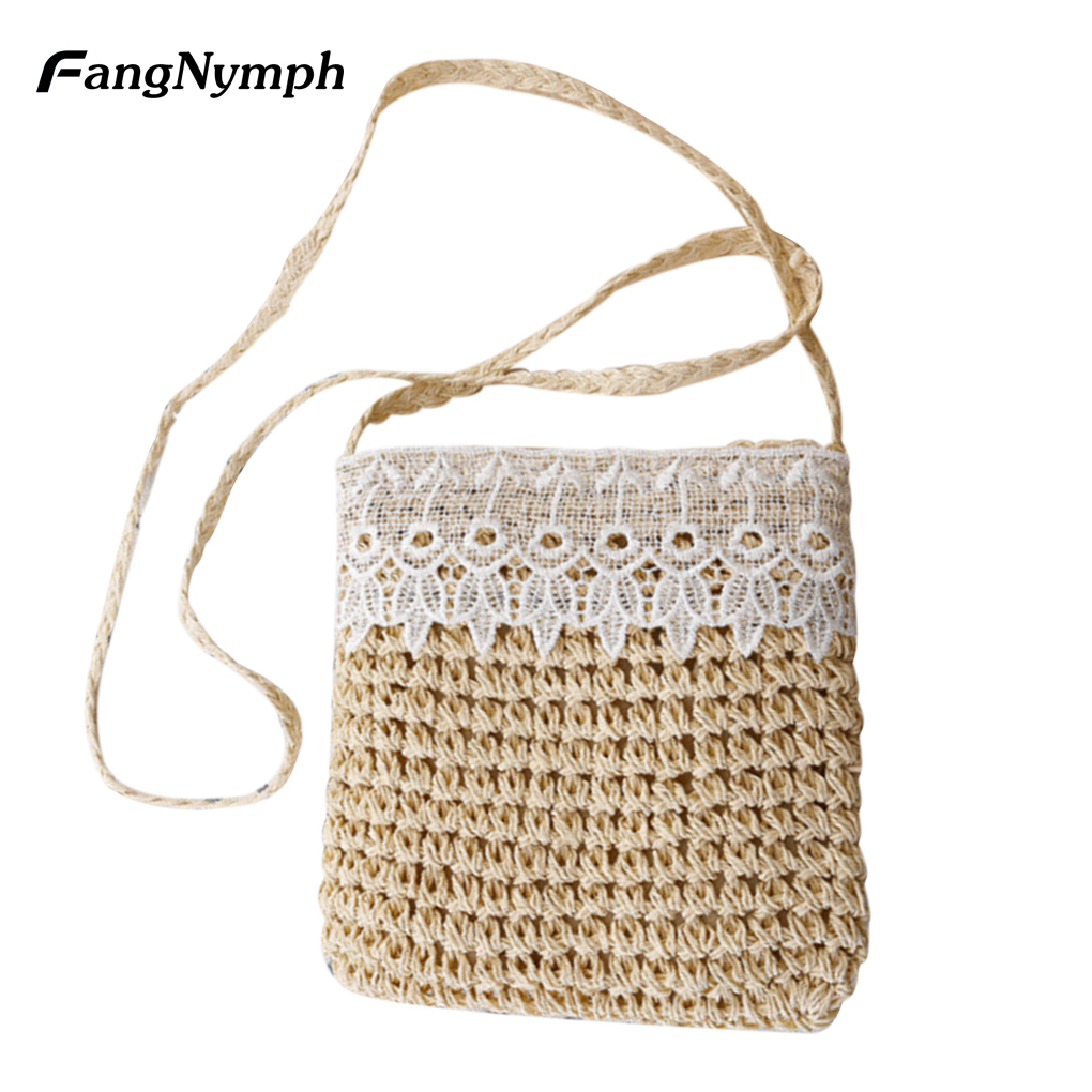 Summer Beach Straw Handbags Woven Lace Flap Messenger Bag Women's Crossbody Bags 4 Color beach straw bags women appliques beach bag snakeskin handbags summer 2017 vintage python pattern crossbody bag