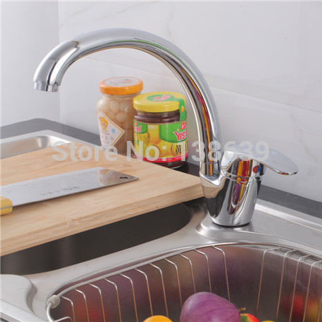 Free shipping 360 degree rorating brass polish chrome kitchen faucet hot and cold water mixer tap