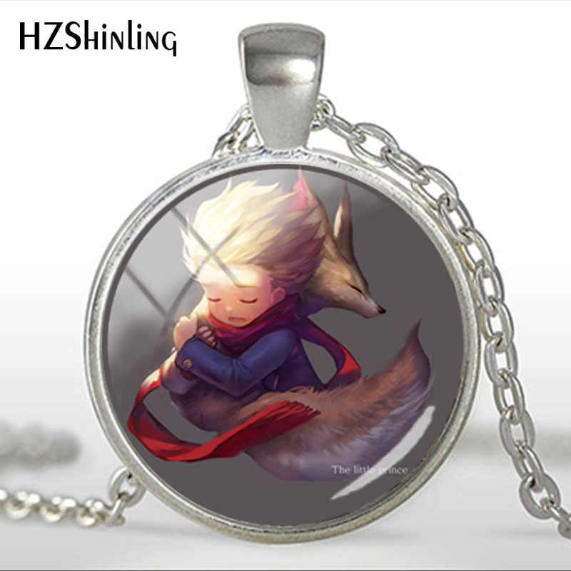 Fashion Glass Dome Necklace The Little Princes Fox Fairy Tale Animal Handmade Silver Color Chain Necklaces Jewelry
