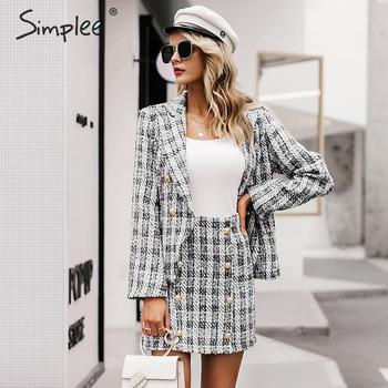Simplee Tweed plaid two-pieces women skirt suit Casual streetwear suits female blazer sets Chic office ladies women blazer suit 1