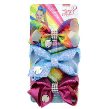 3PCS/Lot JoJo Siwa Bows Cheer 3Inch Hair Bow with Unicorn Rainbow pattern Beautiful  Best Present Girls Clip Accessories