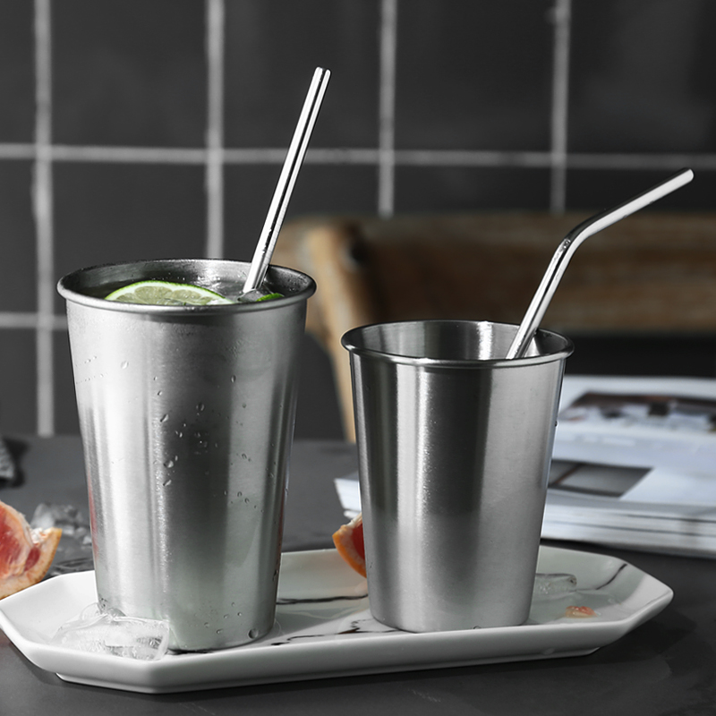 Reusable Bent Straight Stainless Steel Straws Cleaning Brush Cocktail Juice Soda Drinking Straws Metal Straws for 20Oz  Tumblers Bar Accessories (9)