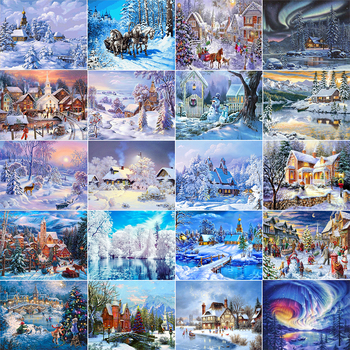 AZQSD Diamond Painting Winter Cross Stitch Diamond Embroidery Snow Scenery Needlework Full Square Landscape Wall Decor BB10393