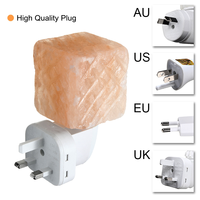 360 Degree Rotate Mini Himalayan Square Salt Night Light Wall Lamp Bedside Bedroom Home Decor Novelty Lighting US EU UK AU Plug