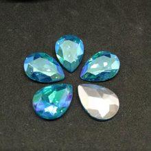 Diamantes de imitación de Cristal AB DR para costura, azul turquesa, para vestido de boda y Bolsa, bricolaje, 6x8, 7x10, 10x14, 13x18, 18x25, 20x30