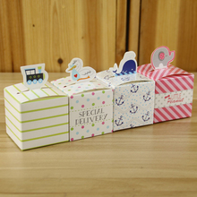 100Pcs/lot Animal Candy Box Baby Full Moon,Baby Happy Birthday Bag,Pink Elephant,Blue Dolphin,Baby Shower Party DIY