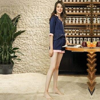 2 Pieces Luxury Solid Silk Pajamas Set 1