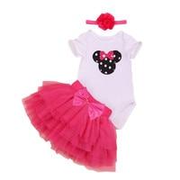 Girl Children Summer ClothES Sets Short Sleeve Minnie Face White Romper Mesh Cupcake Dress Headband 3pcs
