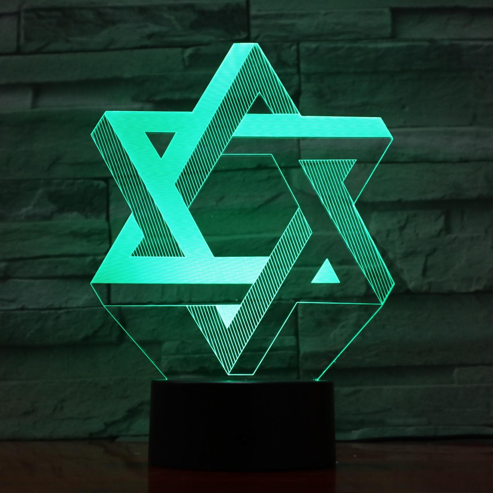 Novelty Lights Star Of David Bedroom Decorative 3d Lamp Child Baby Nightlight Cool Kids Gift 3D Illusion Led Night Light Lamp