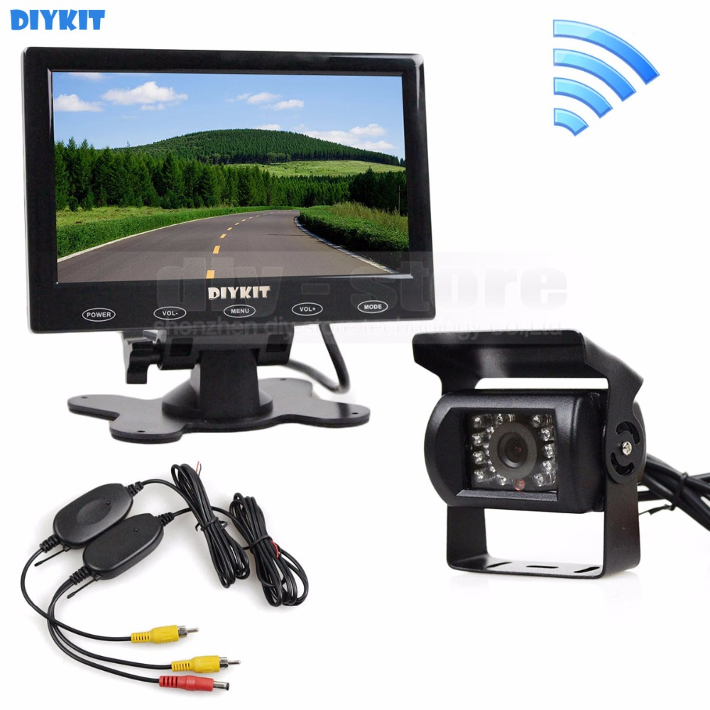 DIYKIT 12V Wireless Rear View Kit For Horse Trailer Motorhome Backup CCD Camera Kit System 7 Touch Monitor Waterproof diykit wired 12v 24v dc 9 car monitor rear view kit backup waterproof ccd camera system kit for bus horse trailer motorhome