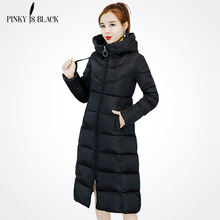 PinkyIsBlack New 2018 Winter Coats Women Down Jacket High Quality Hooded Thick Ladies Army Green Long Parkas Winter Jacket Women стоимость